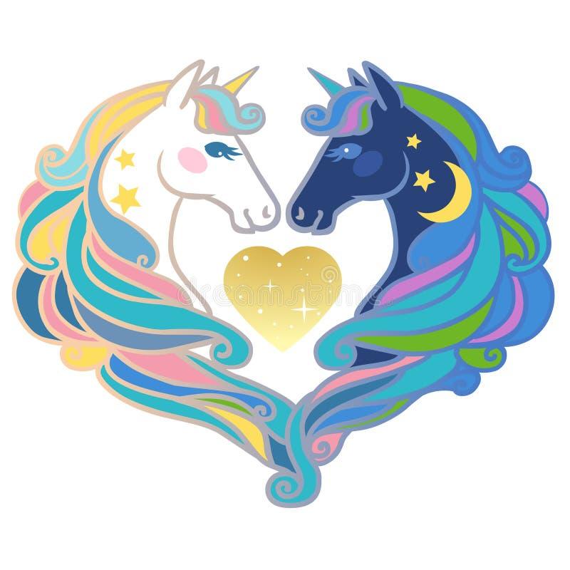 Unicórnios bonitos do arco-íris no fundo branco ilustração royalty free