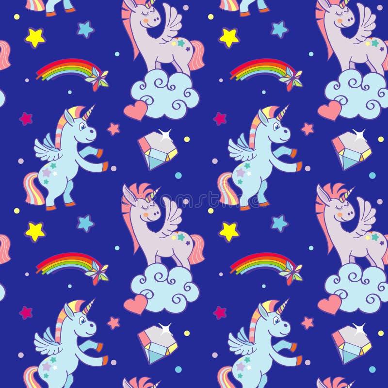 Unicórnios bonitos, nuvens, do vetor mágico da varinha do arco-íris teste padrão sem emenda ilustração royalty free