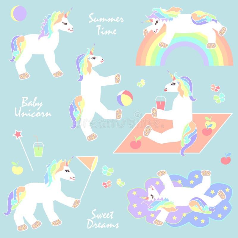 Unicórnios do verão ajustados ilustração royalty free