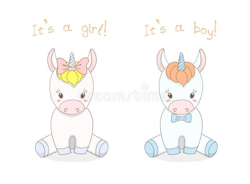 Unicórnios menino e menina do bebê ilustração royalty free