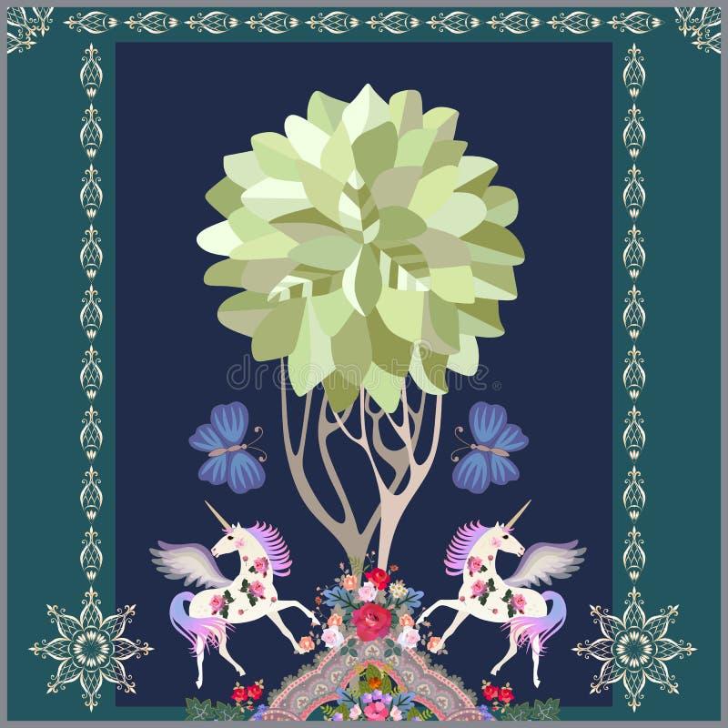 Unic?rnios voados, borboletas grandes, ?rvore de vida e ornamento floral luxuoso em escuro - fundo azul no vetor Arte ing?nua ilustração royalty free