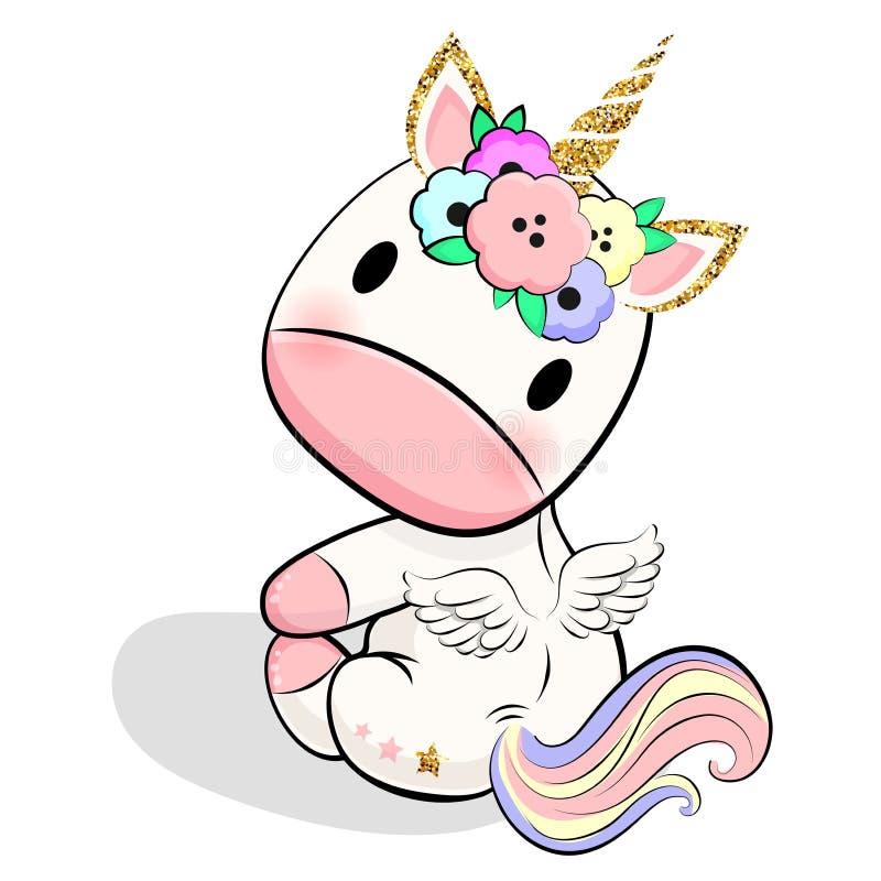 Unic?rnio bonito do beb? com cora??es, estrelas e nuvens ilustração stock