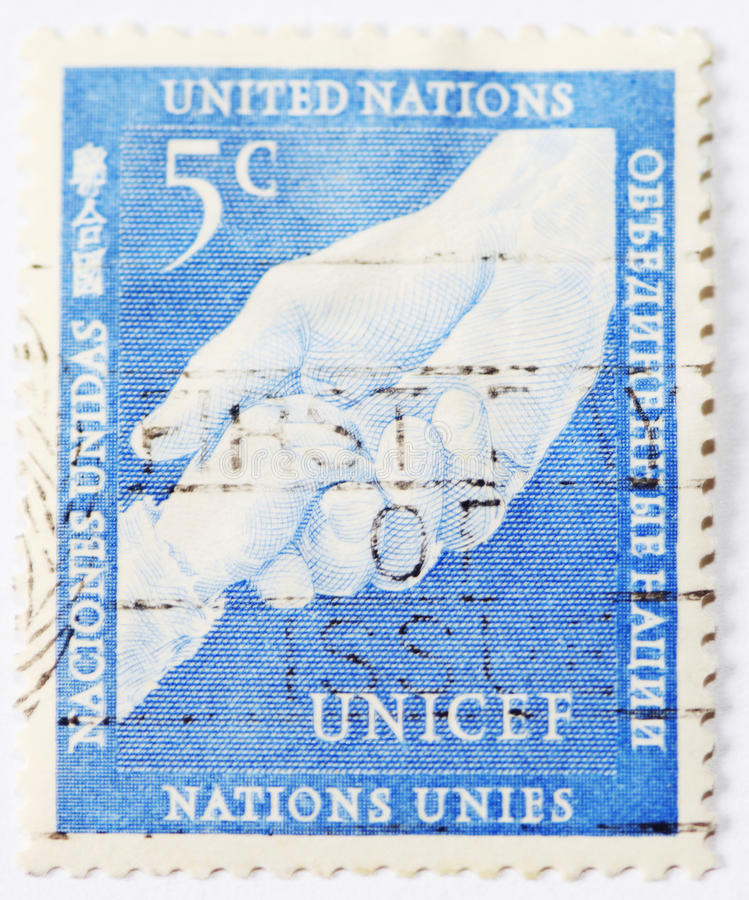 Unicef postage stamp of 5 ct stock photo