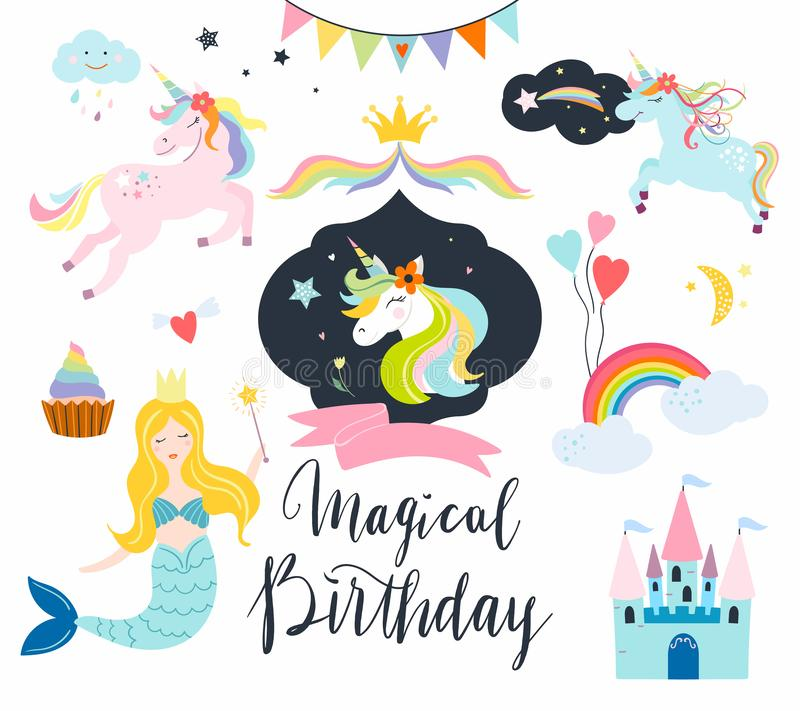 Unicorns collection with fantasy elements. For birthday events , cards or invitation isolated on white background vector illustration