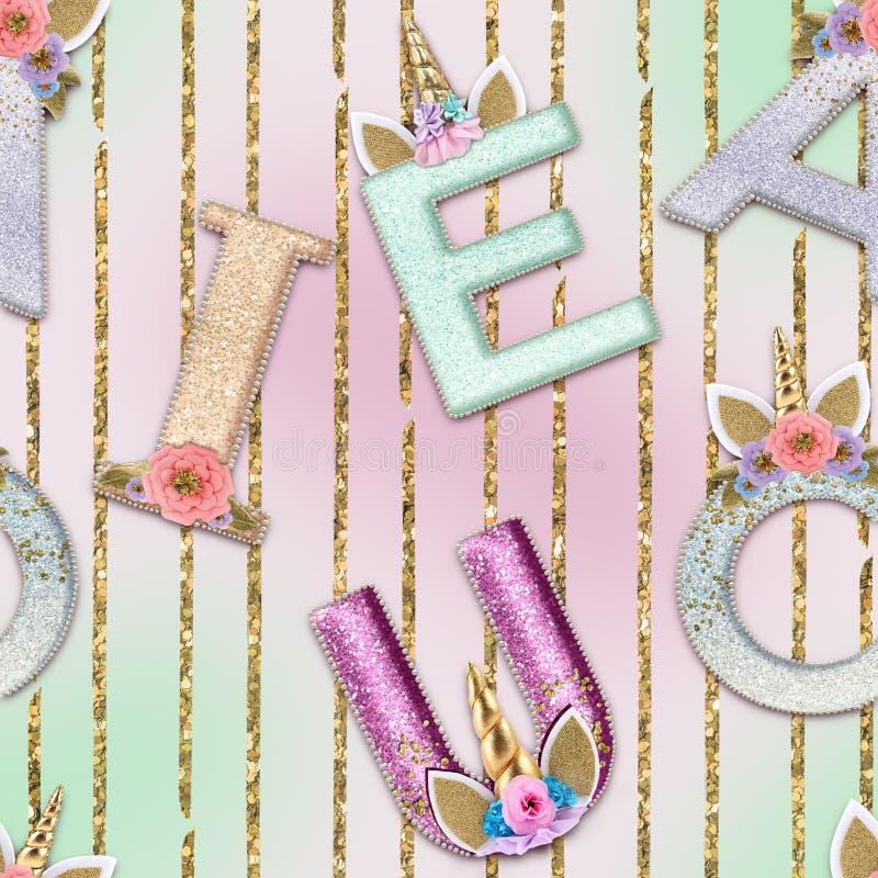Unicorn Alphabet On soft watercolor  background seamless pattern. Unicorn Alphabet On soft watercolor background seamless pattern stock photography