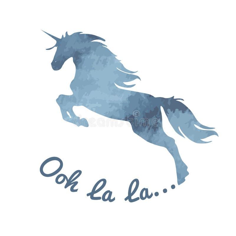 unicorn Aquarela, silhueta romântica, azul-cinzenta do unicórnio da cor com uma inscrição do la do la de Ooh em um fundo branco ilustração royalty free