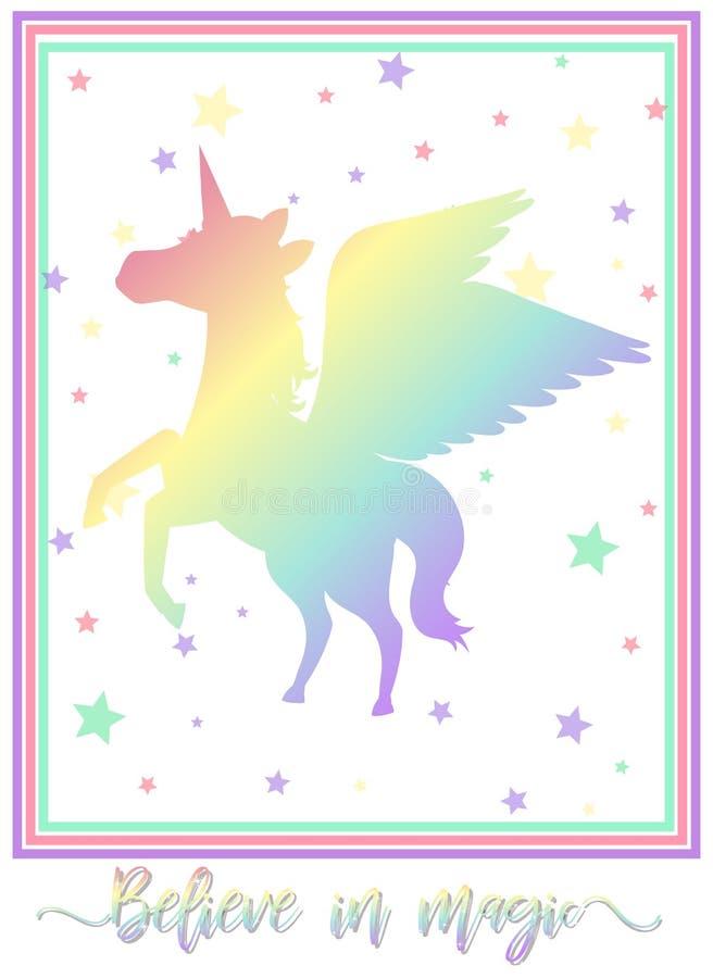 Unicorn Background Colourful su bianco illustrazione vettoriale