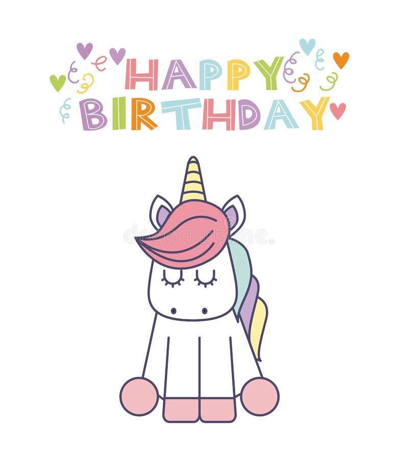 Unicorn Birthday Card Stock Vector. Illustration Of