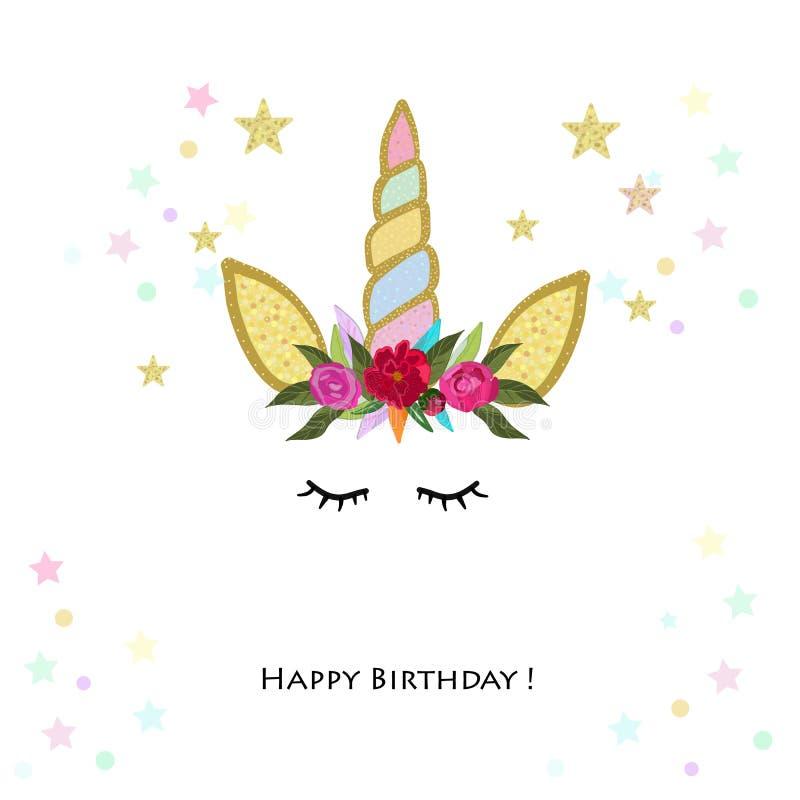 Unicorn Birthday-Einladung Babyparty, Parteieinladungs-Grußkarte lizenzfreie abbildung