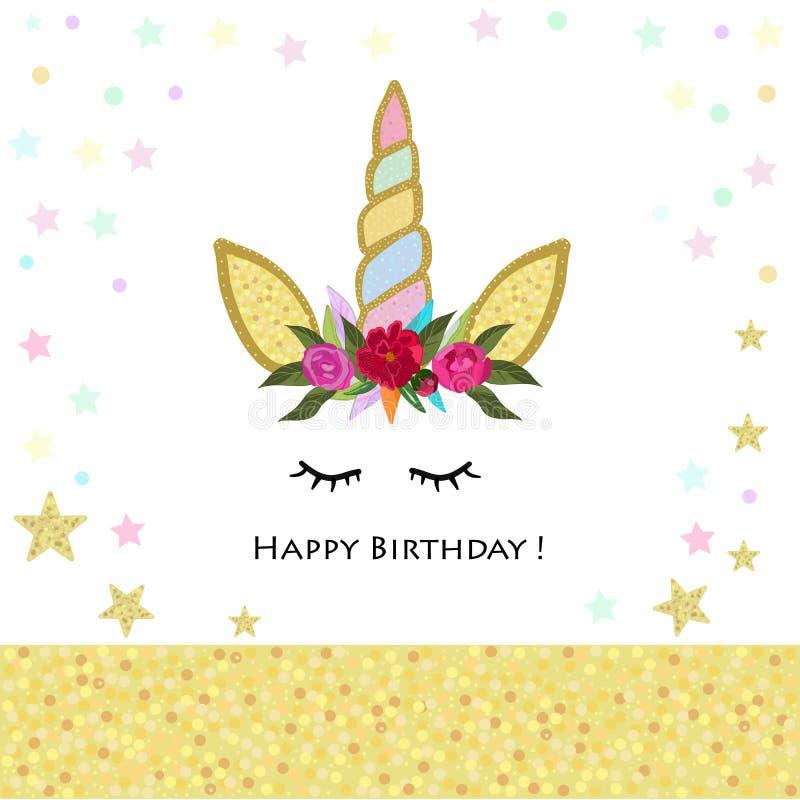 Unicorn Birthday inbjudan Glänsande kort för magiskt Unicorn Birthday parti Baby showerhälsningkort royaltyfri illustrationer