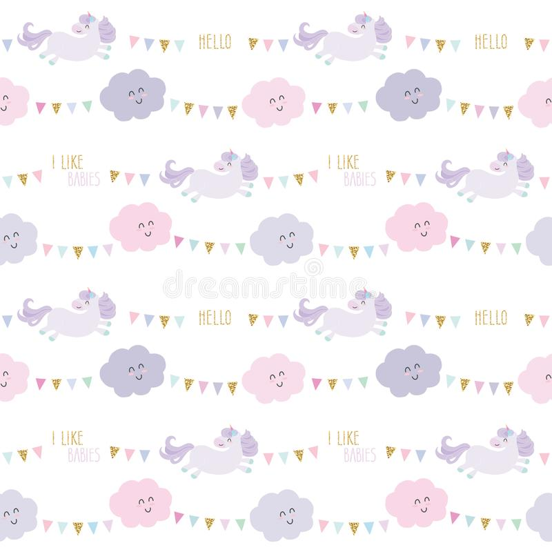 Unicorn birthday pattern background with bunting flags and clouds. Raster vector illustration