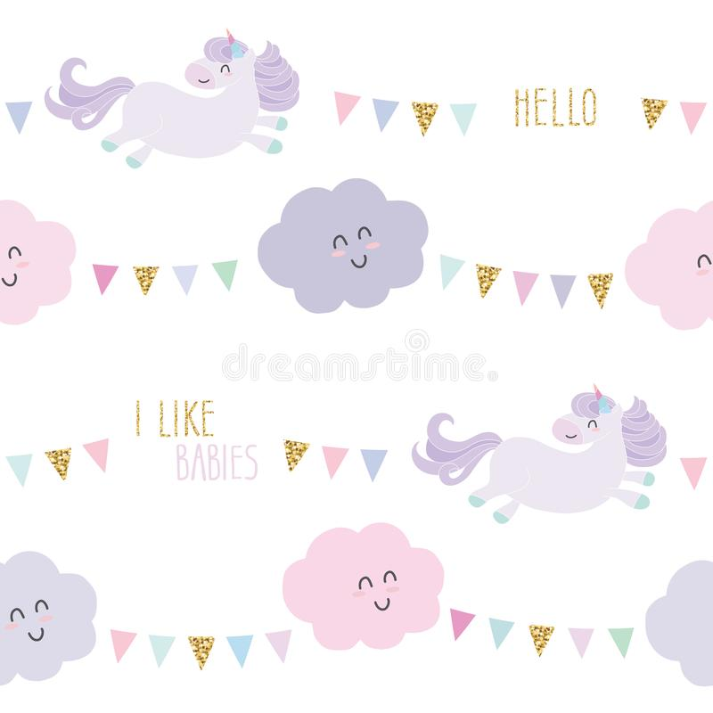 Unicorn bithday seamless pattern background with bunting flags and clouds. Vector stock illustration