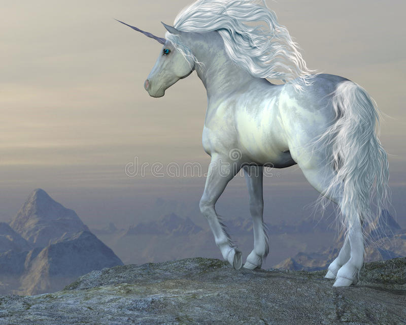 Unicorn Bluff. A white unicorn stallion looks over his vast territory from a mountain cliff