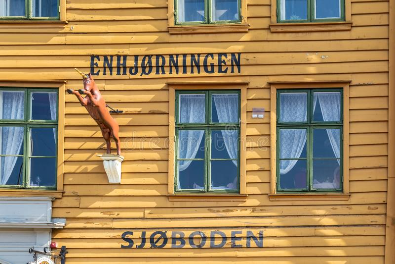 Unicorn Boathouse en Bryggen en Bergen Norway foto de archivo libre de regalías