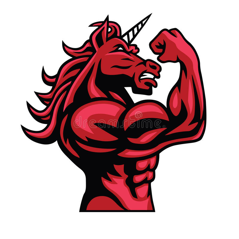 Unicorn Bodybuilder Muscular Body vector illustratie