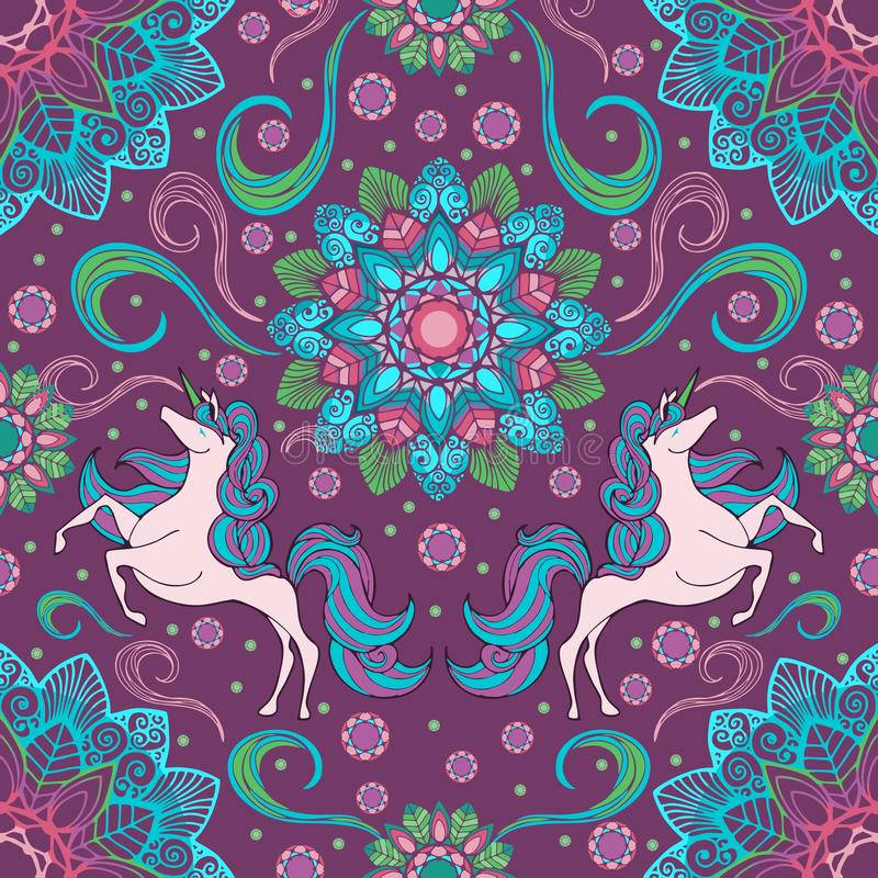 Unicorn and boho mandala flower with fantasy color seamless pattern background stock illustration