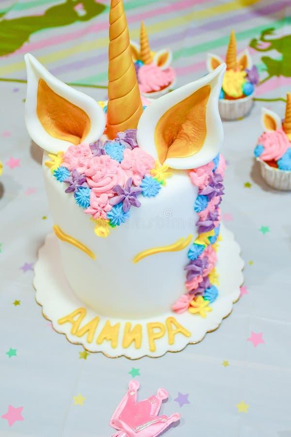 Unicorn cake for party royalty free stock photos