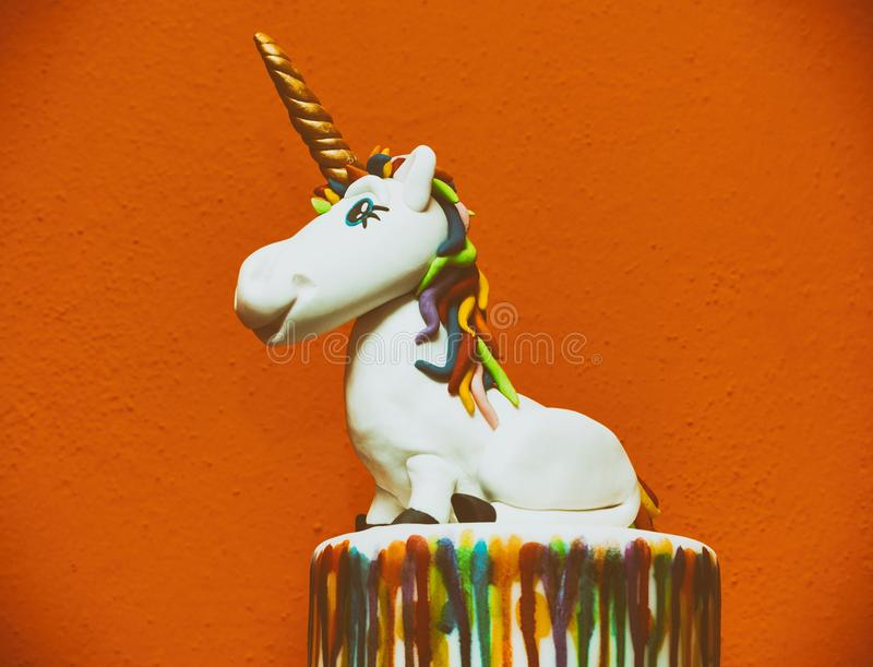 Unicorn cake topper. Made with in sugar paste or Fondant royalty free stock images