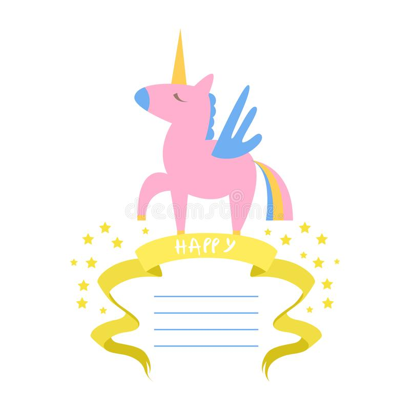 Unicorn Card Template hermoso con el lugar para el texto, invitación del cumpleaños, bandera, cartel, folleto, niños va de fiesta ilustración del vector