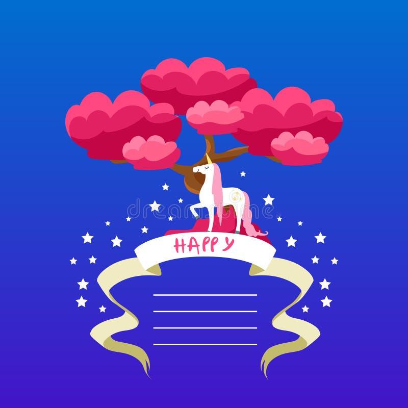 Unicorn Card Template hermoso con el lugar para el texto, invitación del feliz cumpleaños, bandera, cartel, cuaderno, folleto, ni stock de ilustración