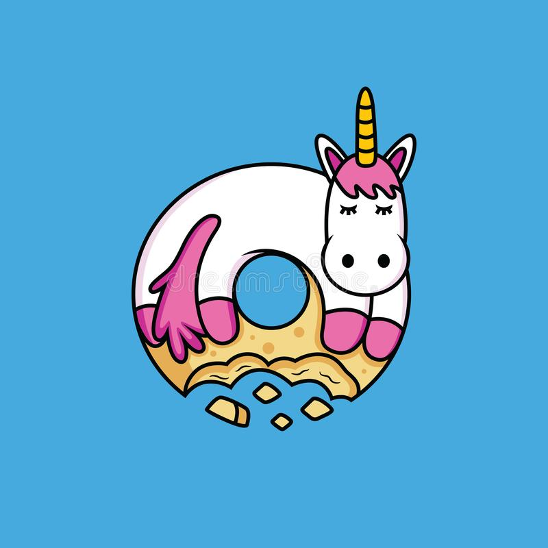 Unicorn cartoon likes donuts royalty free illustration