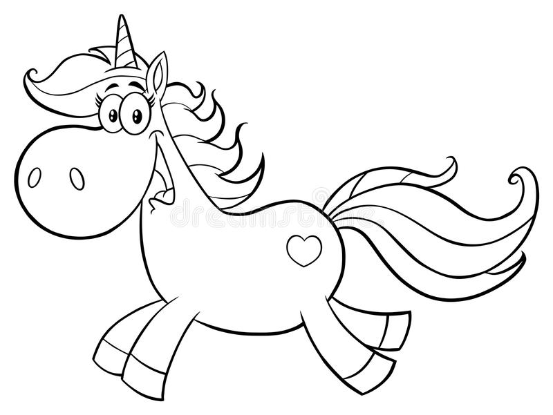 Unicorn Cartoon Mascot Character Running mágico bonito preto e branco ilustração do vetor