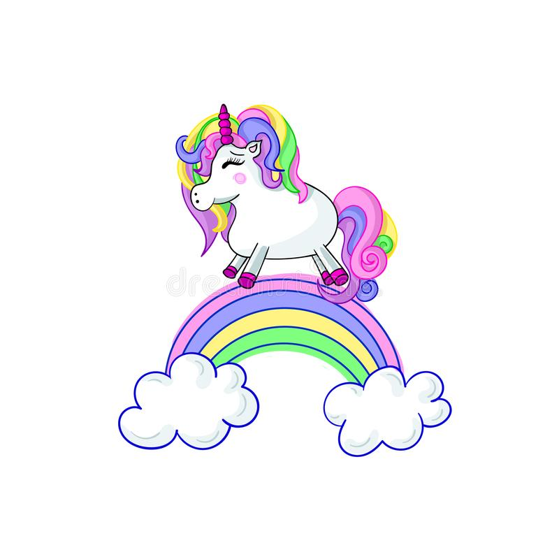 Unicorn Cartoon Vector Cute Illustration, Isolated on White Background Fairytale. stock illustration