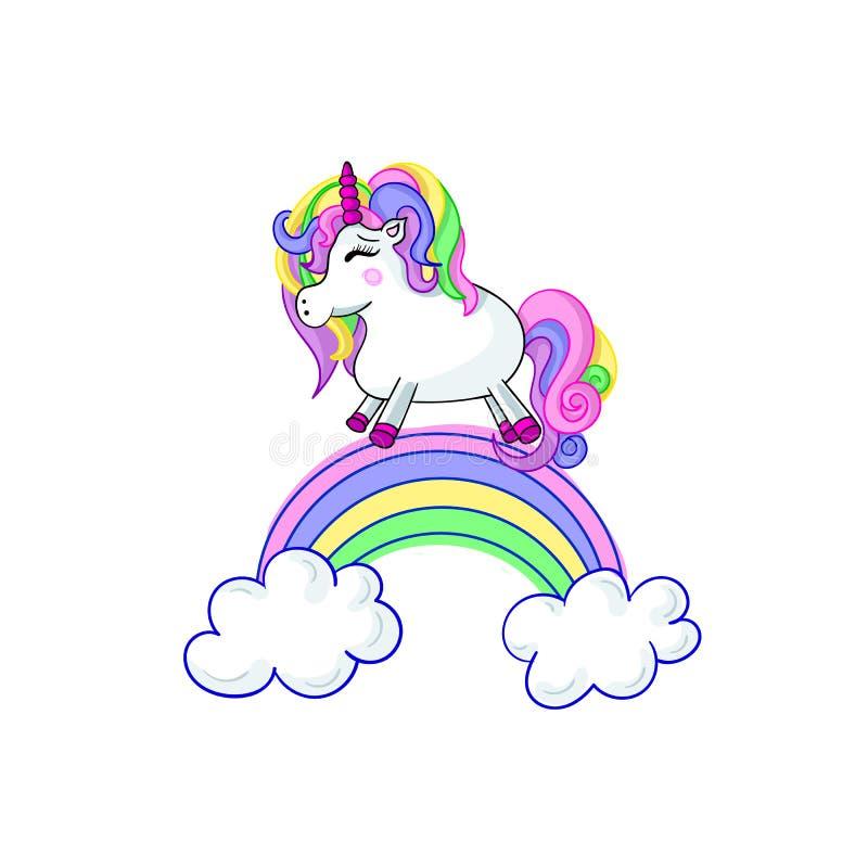 Unicorn Cartoon Vector Cute Illustration som isoleras på den vita bakgrundssagan stock illustrationer