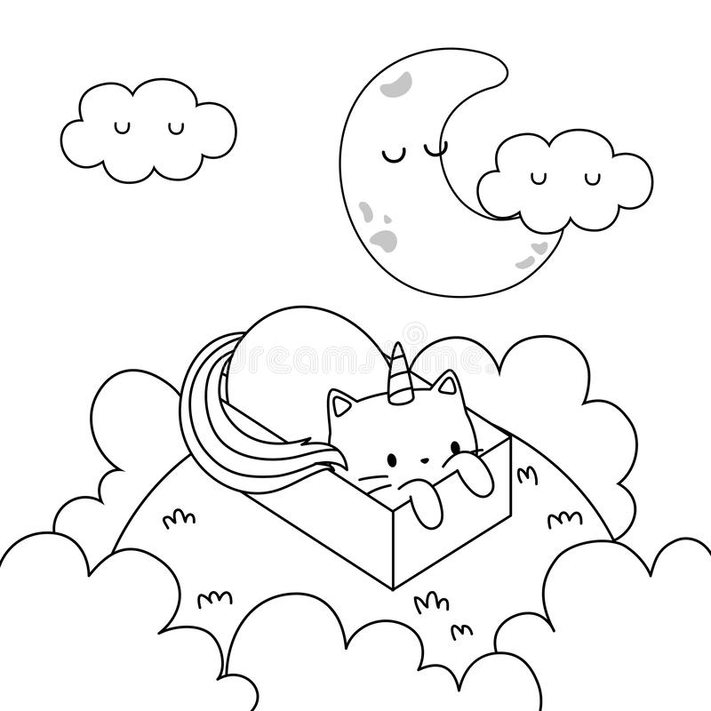 Free Unicorn Cat Cartoon Vector Design Stock Photo - 157599890