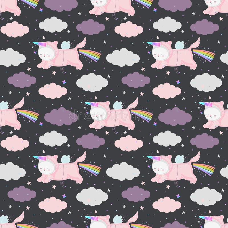 Unicorn cats seamless pattern vector stock illustration