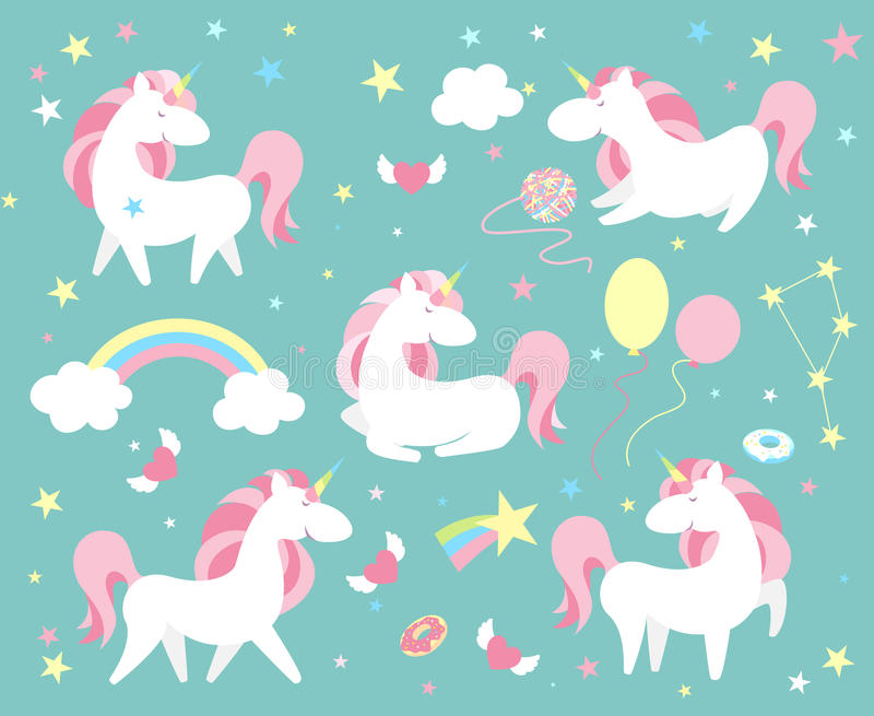 Unicorn character set. Cute magic collection with unicorn, rainbow, heart , fairy wings and balloon. Catroon style vector royalty free illustration