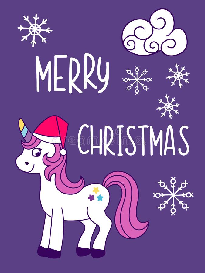 Unicorn Christmas and New Year card with snowflakes. Vector illustration vector illustration