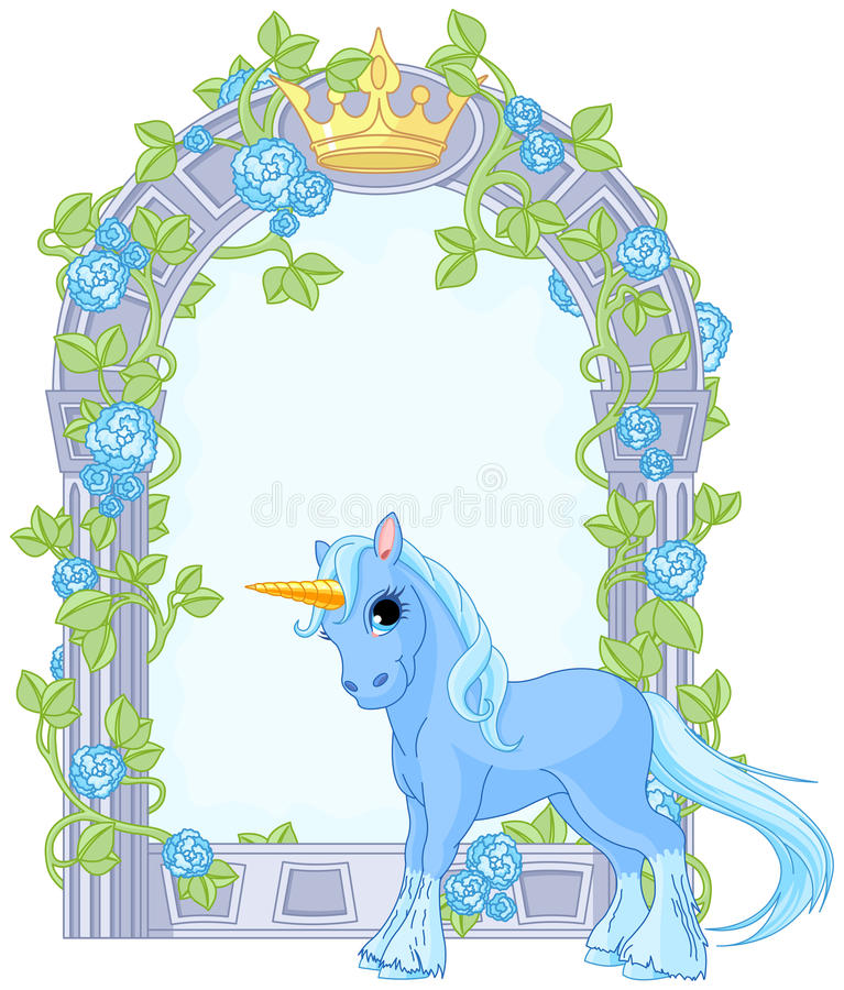 Download Unicorn Close To Flower Frame Stock Vector