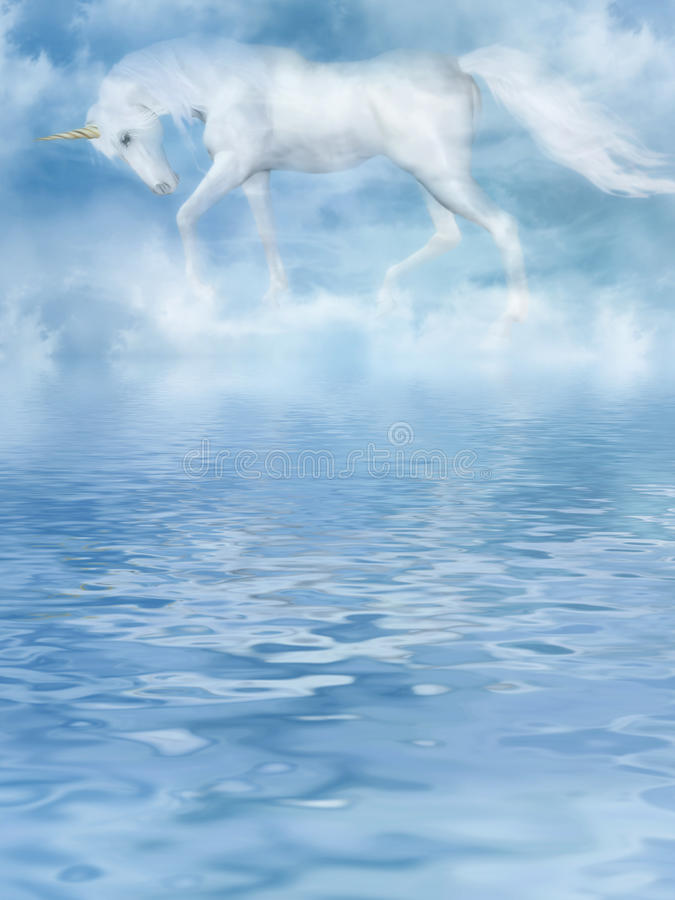 The unicorn in clouds vector illustration