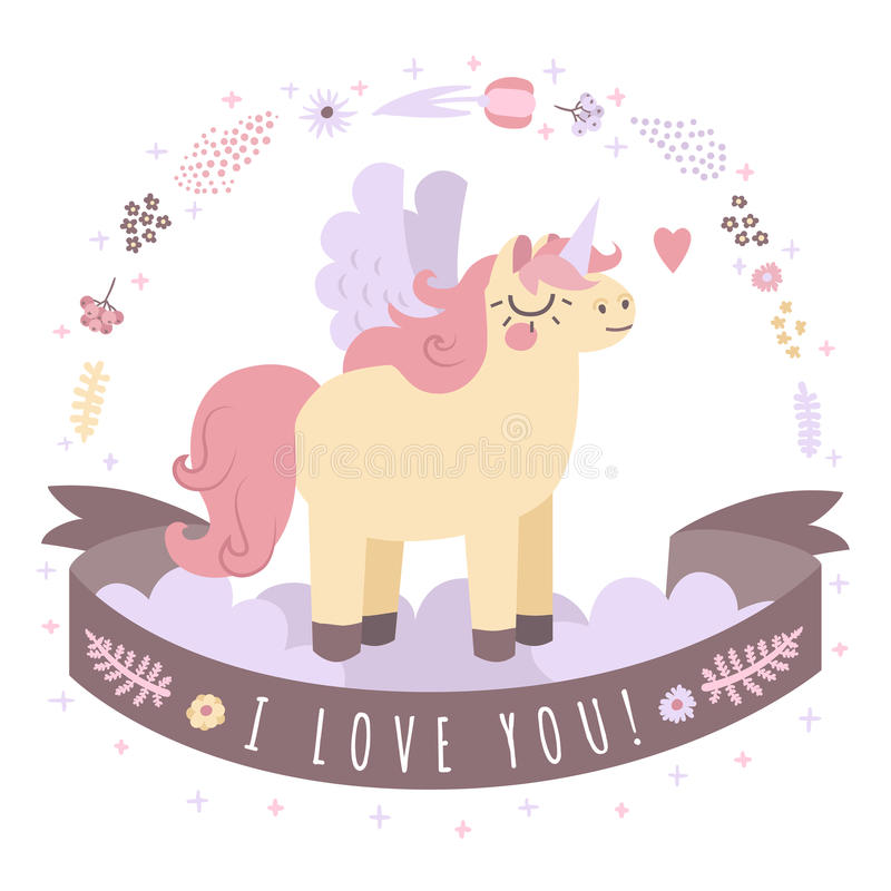 Unicorn on the clouds vector background with ribbon I Love You (pastel colors) stock illustration