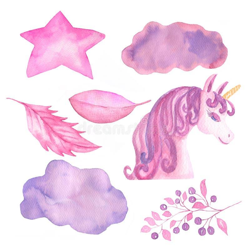 Unicorn Collection Objetos da aquarela Grupo da decoração dos unicórnios, estrela, nuvem, folhas, bagas ilustração royalty free