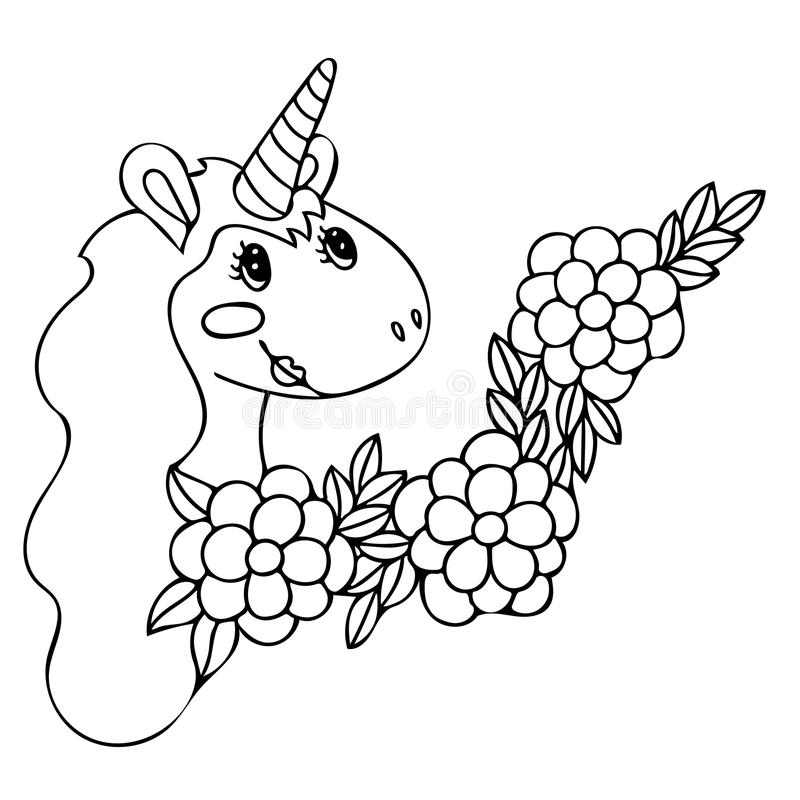 Unicorn for coloring book stock vector. Illustration of horn - 113224660