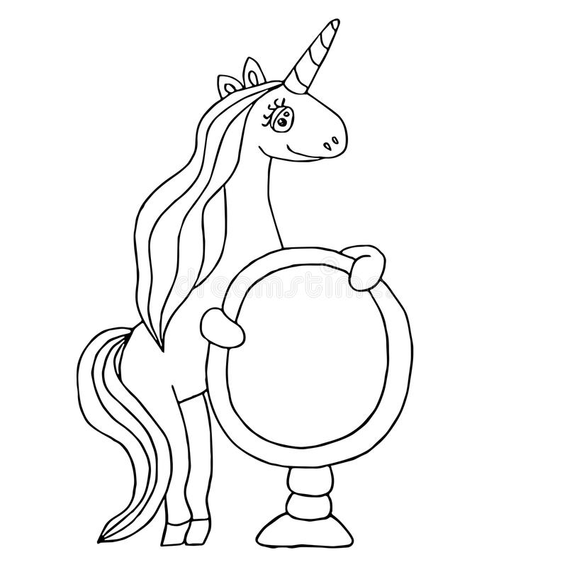 Unicorn for coloring book stock vector. Illustration of black ...