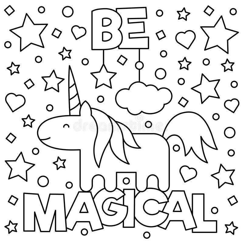 Unicorn. Coloring page. Vector illustration. Unicorn. Coloring page. Black and white vector illustration stock illustration