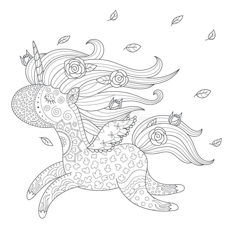 Unicorn coloring page stock illustration