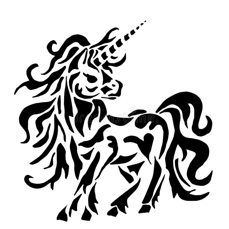Unicorn for coloring or tattoo vector illustration