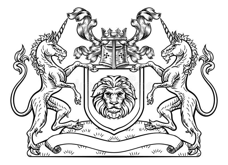 Unicorn Crest Heraldic Shield Coat van Wapens vector illustratie