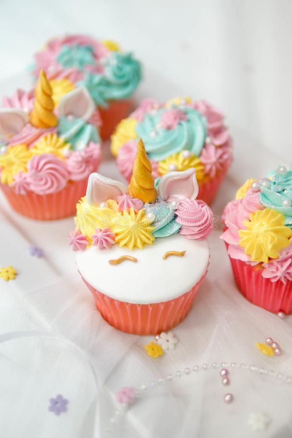 Unicorn cupcake frosting. royalty free stock photos