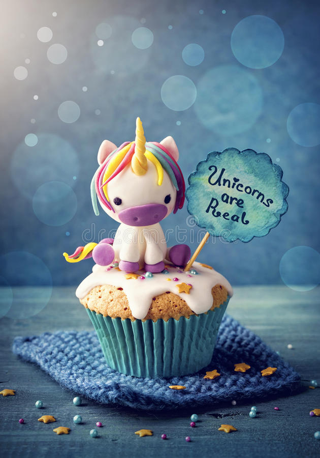 Unicorn cupcakes royalty free stock image
