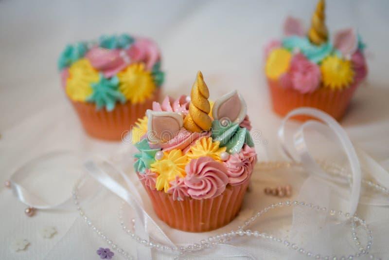 Unicorn cupcakes. royalty free stock photo