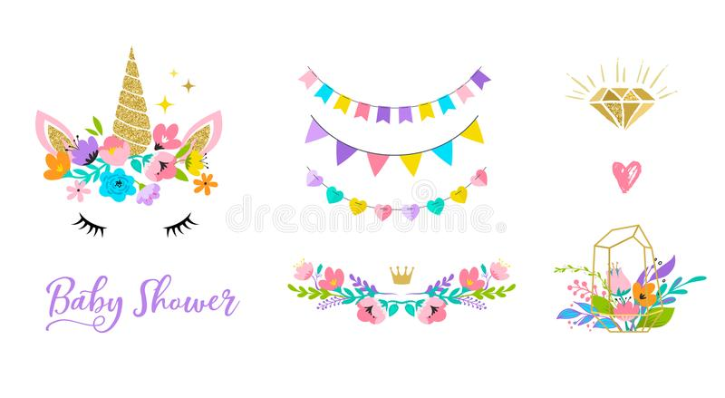 Unicorn head with flowers - card and shirt design. Unicorn cute illustration - card and shirt design