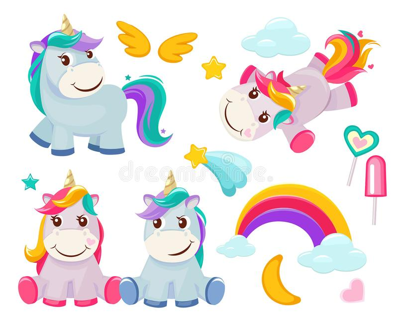 Unicorn. Cute magic animals happy birthday symbols little pony baby horse vector colored cartoon pictures. Illustration of unicorn baby, animal horse, pony stock illustration