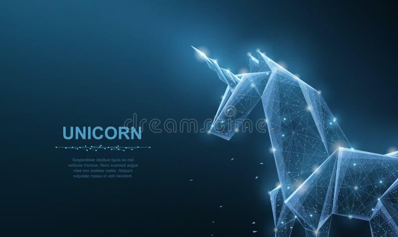 unicorn De abstracte vectororigamidocument eenhoorn isoleted op blauw Magisch, fantasie, paard, droom, mirakel, geloof, wens dit vector illustratie