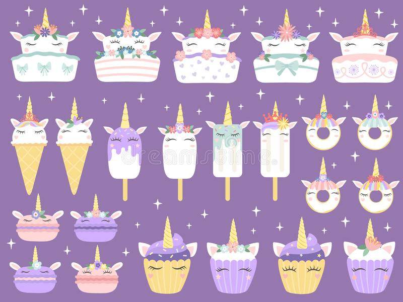 Unicorn desserts. Unicorns macaron, delicious bakery cake funny chocolate cupcake and donut. Rainbow ice cream and stock illustration