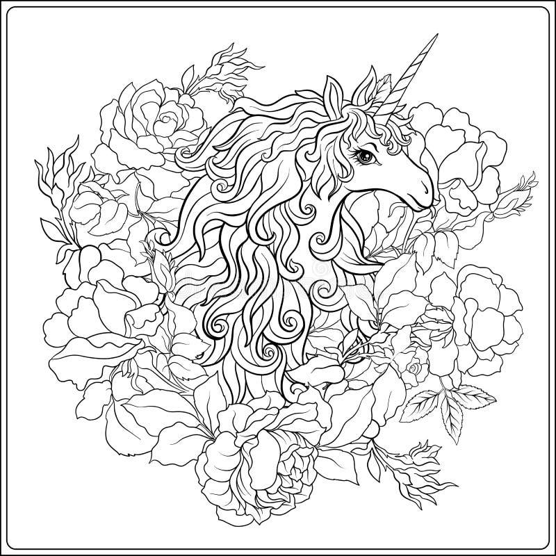 unicorn Die Zusammensetzung besteht aus einem Einhorn, das durch ein b umgeben wird stock abbildung